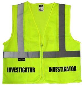 Investigator safety vest, High Visibility vest