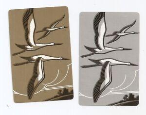 2 Swap cards, birds in flight, silver & gold pair