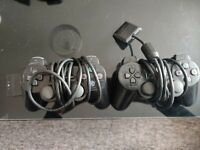 2 X Sony Playstation PS2 Controllers OFFICIAL - Black Dualshock - FREE P&P!