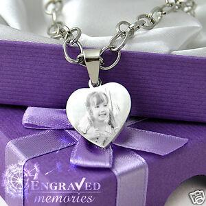 Chain Bracelet Heart Charm Photo Engraved Unique Christmas Gift