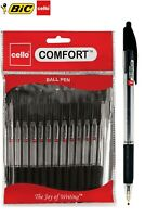 BIC CELLO COMFORT MEDIUM 1.0MM RETRACTABLE BALL POINT PENS BLACK,BLUE,RED-12 PK