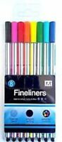8 Fineliners Pens Smooth Writing School Office Stationery Bright Colours UK