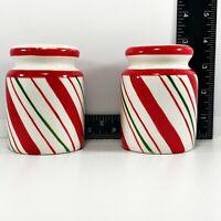 Vintage Salt & Pepper Shaker Set Thin Multi-Colored Stripe Design