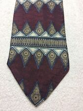 XMI MENS TIE BROWN BLUE GOLD AND WHITE  3.75 X 61