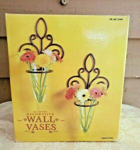 Hanging Decorative Vases Rustic Wall Mount Glass Cylinder Home Decor Set 2 NIB