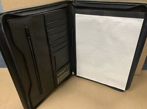 A4 Black Leather Conference Folder - Business Office Work, Note Pad, Calculator