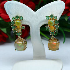 NATURAL 9 mm. WHITE RAINBOW OPAL & GREEN EMERALD EARRINGS 925 STERLING SILVER