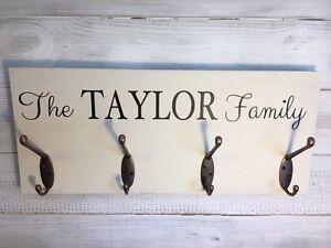 Personalised Coat Hook sign, Family name coat Hooks, Wall mounted hooks, Cream