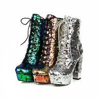 Women's Ladies Ankle Boots Platforms Block High Heel Lace Up Punk Shoes 34/43 L