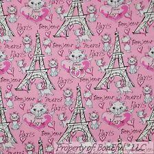 BonEful FABRIC Cotton Quilt Pink B&W Aristocat Disney Kitty Cat Paris Word SCRAP