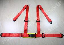 3 4 Point 4PT H-Style Car Safety Harness Racing Seat Belt Stitches Red UK
