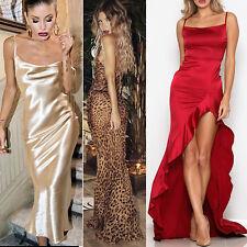 Mujer Sedoso Maxi Noche Vestido Largo Sparkle Slit Navidad Fiesta Baile Boda Ny