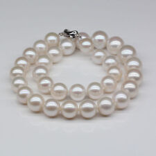 Gorgeous AAA 11-12mm south sea round white pearl necklace 18inch 925s JN1866