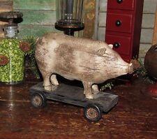 Primitive Antique Vtg Style Farm Barn Yard Pull Toy PIG Hog WHEELS Shelf Sitter