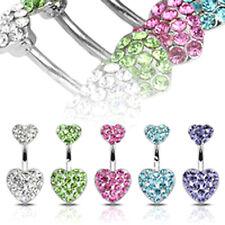 DOUBLE HEART BELLY BAR Crystal Rhinestone Silver Steel Cute Love Navel Piercing