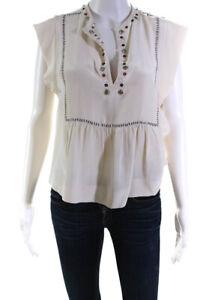 Isabel Marant Womens Silk Blend Grommet Short Sleeve Blouse White Size EUR 36