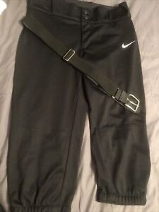Nike Womans Black  Softball/ Fast Pitch Pants With Belt New Sz M