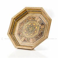 Handmade Syrian Inlaid Mosaic Wooden Serving Tray Home Decoration Gift 29x29x4cm
