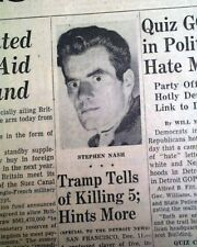 STEPEHEN A. NASH Thrill Serial Killer Murderer Confesses Killings 1956 Newspaper