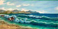 """Art100%oil painting10""""×20""""ocean view,art deco,home decor,seascape,landscape,surf"""