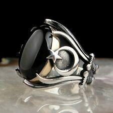 Solid 925 Sterling Silver Onyx Stone Zulfiqar Sword Crescent Star Men's Ring