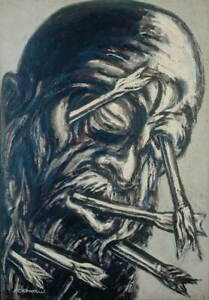 Jose Clemente Orozco Head Pierced with Arrows Giclee Paper Print Poster
