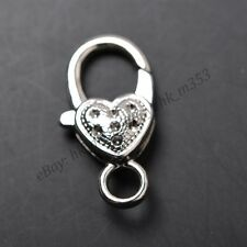 5 to 10Pcs Gold Silver Plated Bronze Copper & Dots Charms Heart Lobster Clasps