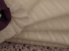 Pretty White Leno Stripe Embroidered Fine Cotton Fabric -145cm X per Half-metre