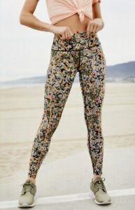 Free People Movement Legging Eden Floral Black Orange Multi Pockets S NEW