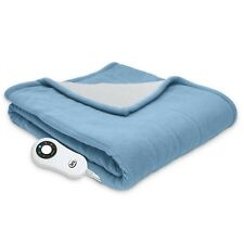 Reversible Sherpa/Fleece Heated Electric Throw Blanket, (Slate Blue)