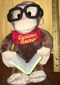 """❄️ 13"""" Gund CURIOUS GEORGE plush Doll Reading Still Curious Book Wearing glasses"""