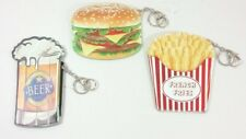 Beer Stein Hamburger French Fries Money Coin Purse Wallet Key Chain Lot of 3 NEW