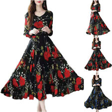 Women Long Sleeve Floral Casual Maxi Dress Evening Party Slim Swing Long Dresses