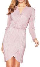 Vestiti da donna rosa in paillettes con scollo a v