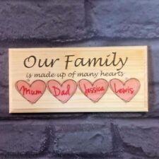 e5b4885bba Nuestra familia Personalizado Placa   Cartel-Artesanal De Regalo-Corazones  Casa Mamá Papá Loving
