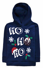 Kids Christmas Jumper New Boys Girls Xmas Pudding Santa Hoodie Top 2 - 13 Years