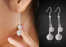 Fashion 925 Silver Plated Earring Studs Rhinestone Crystal Jewelry Good T