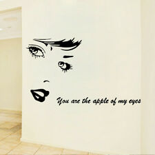 Girl Beauty Face Room Home Decor Removable Wall Stickers Decals Decoration
