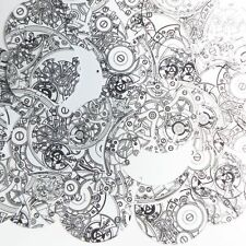 """Round Sequin 1.5"""" Steampunk Clockworks on White Opaque Loose Couture Paillettes"""