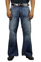 Men's DML Flare  Indie Retro Jeans 70s Bell Bottoms MEDIUM WASH LC16 All Sizes