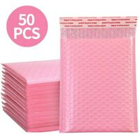 50Pcs Bubble Mailers Padded Envelopes Lined Poly Mailer Self Seal Pink 4 Size CH
