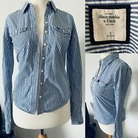 Abercrombie and Fitch Blue Pinstripe Cotton Shirt Button Up Preppy Top Size S
