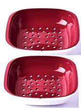 Tupperware (2) Allegra Sieb Siebservierer 1,3 l ((Rot-Weiss)) DOPPELPACK