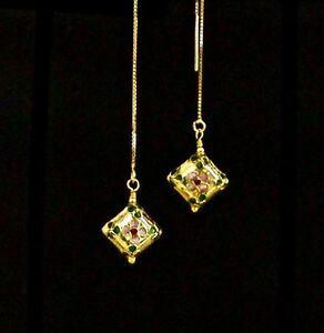 """IAJ"" GOLD gp CLOISSONE PUFFY DIAMONDS w/14k GOLD VERMEIL Ear Threader Earrings"