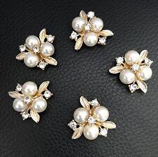 5 Rhinestone Pearl Gold Flower Flatback Button Embellishment Craft Wedding