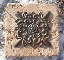 Fleur de lis distressed travertine tile mold reusable casting mould