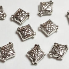 10pcs Antique Silver Diamond Carved Flower Beads Metal Spacers 8x10mm B00045