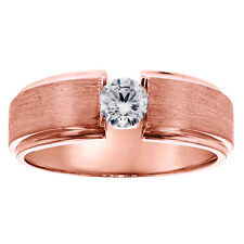 0.40 CT Brilliant Cut Large Diamond Men's Ring in 18k Rose Gold Channel New!