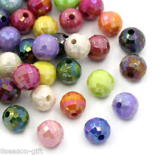"HX 300PCs Mixed AB Color Faceted Round Acrylic Spacer Beads 8mm(3/8"") Dia"