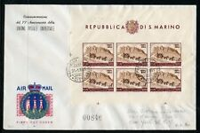 SAN MARINO UPU SCOTT#C75 SHEET OF SIX ON FIRST DAY COVER--SCOTT VALUE USED $225